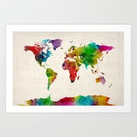 Watercolor Map Of The Wo… Art Print