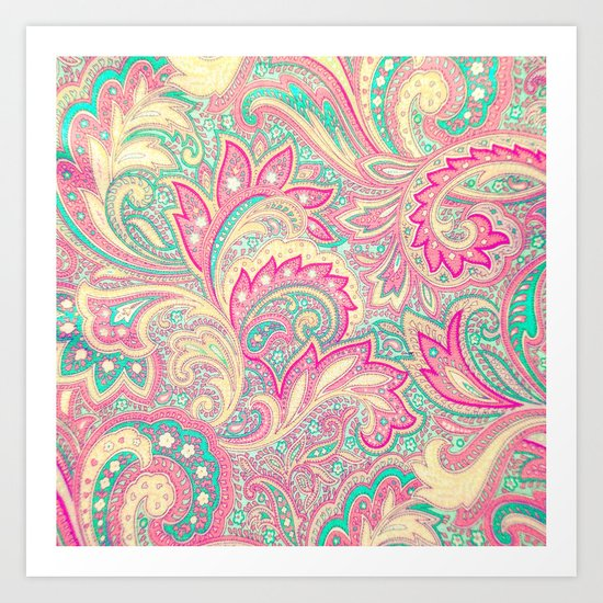 Pink Turquoise Girly Chic Floral Paisley Pattern Art Print by Girly ...