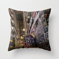 Graffiti Lane Throw Pillow