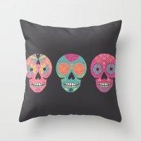 Three Amigas Sugar Skulls Throw Pillow