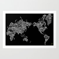 Passport Stamp Map Speci… Art Print
