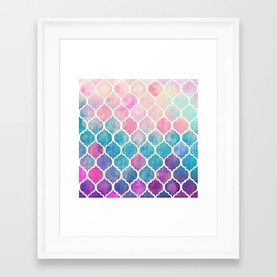 Rainbow Pastel Watercolor Moroccan Pattern Framed Art Print