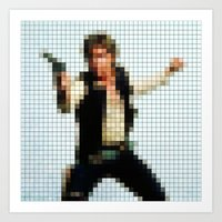 Han With Gun Pixels Text… Art Print