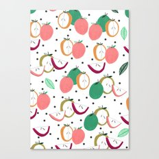 Apple print. illustration, art, print, design, pattern, fruit, food, fun, print design Canvas Print