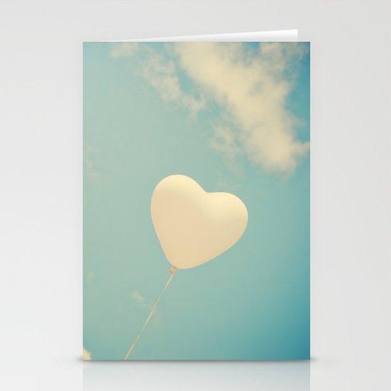 Nostalgic Love, Vintage Heart Balloon  Stationery Card