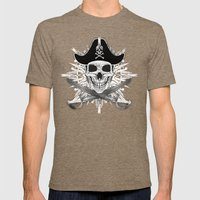 Pirate Skull And Crossbones with Grunge Effect Mens Fitted Tee Tri-Coffee SMALL