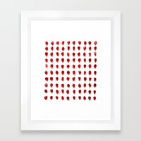 pomegranate seeds, organized neatly Framed Art Print