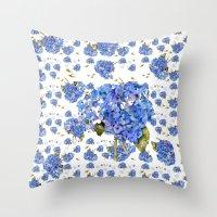 Cape Cod Hydrangeas and Birds Throw Pillow