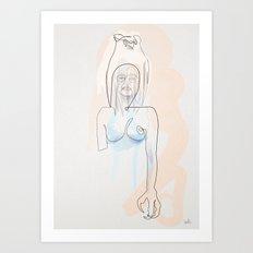 One line Totem  Art Print