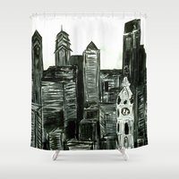 Black and White Philly Skyline Shower Curtain