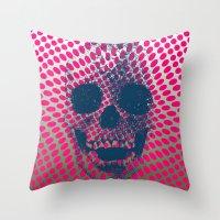 Op Art Skull Throw Pillow