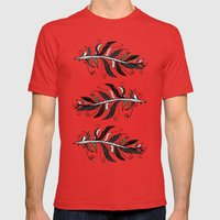 TRIBAL FEATHERS Mens Fitted Tee Red SMALL