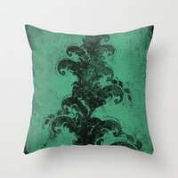 cropped green Throw Pillow