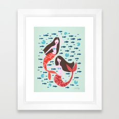 Koi Mermaids on Mint Framed Art Print