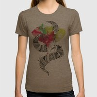 Art'lephant. Womens Fitted Tee Tri-Coffee SMALL