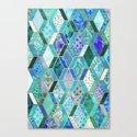 Sapphire & Emerald Diamond Patchwork Pattern Canvas Print