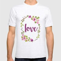 Floral Wreath Watercolor - Love - by Sarah Jane Design Mens Fitted Tee Ash Grey SMALL