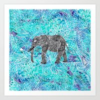 Mandala paisley boho elephant blue turquoise watercolor illustration Art Print