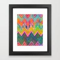 Framed Art Print featuring Tribal Chevron - Yellow by Schatzi Brown