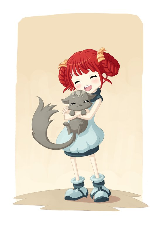 Girl and a Cat Art Print