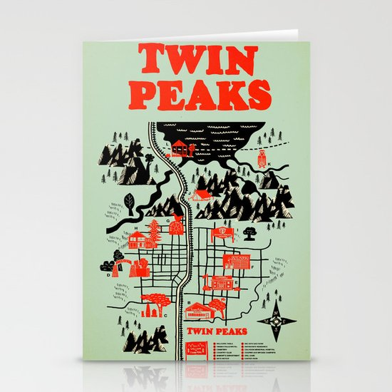 Twin Peaks Map Stationery Card