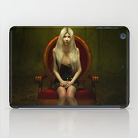 Dark wonderland Alice on a red chair iPad Case