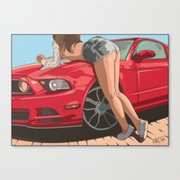 Girl & Car II Canvas Print