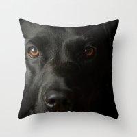 Black Labrador In The Da… Throw Pillow
