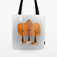 Tote Bag featuring Winter Foxes by Lynette Sherrard Illustration and Design