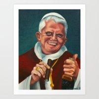 The Smoking Pope Art Print