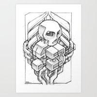 Isometric 13 Skull Sketc… Art Print