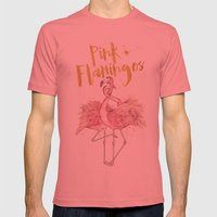 Pink Flamingos Mens Fitted Tee Pomegranate SMALL