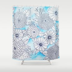 Floral Doodle in Blue Shower Curtain