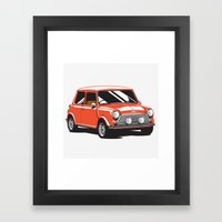 Mini Cooper Car - Red Framed Art Print