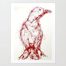 Crow, Red, Bird Art Print