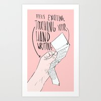 Touching Your Handwriting Art Print