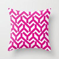 Magenta Geometry Pattern Throw Pillow