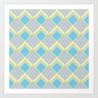 Diamond Art Deco; - Blue Art Print