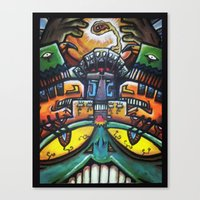 Aztec Colorfull Monsters Canvas Print