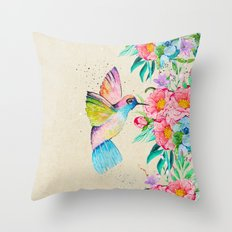 Whimsical watercolor hummingbird and  floral hand paint Throw Pillow