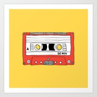 Cassette Tape // yellow and red // large Art Print