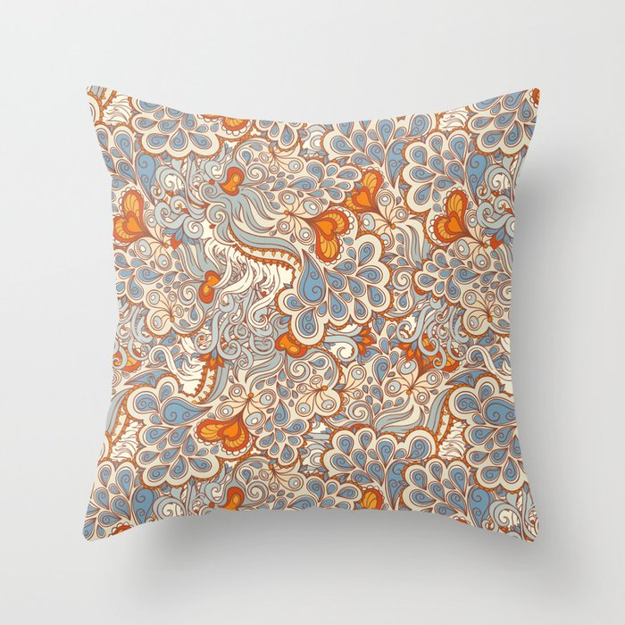 Decorative Pillows Orange And Blue : orange and blue pattern Throw Pillow by Melazerg Society6