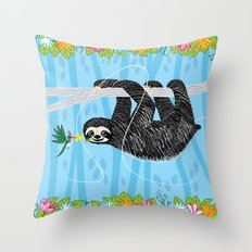 The Sloth And The Hummin… Throw Pillow