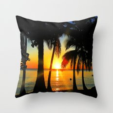 Sunset on Exotic Beach Throw Pillow