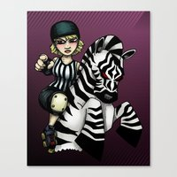Roller Derby Referee Zebra Canvas Print