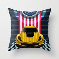The Yellow King Corvette… Throw Pillow