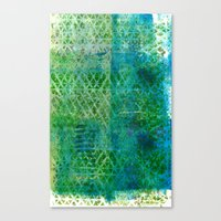 Green Triangles On Blue Canvas Print