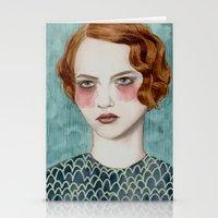 woman Stationery Cards featuring Sasha by Sofia Bonati