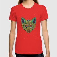 Intergalactic Fox Womens Fitted Tee Red SMALL