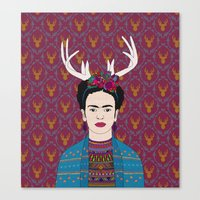 DEER FRIDA Canvas Print